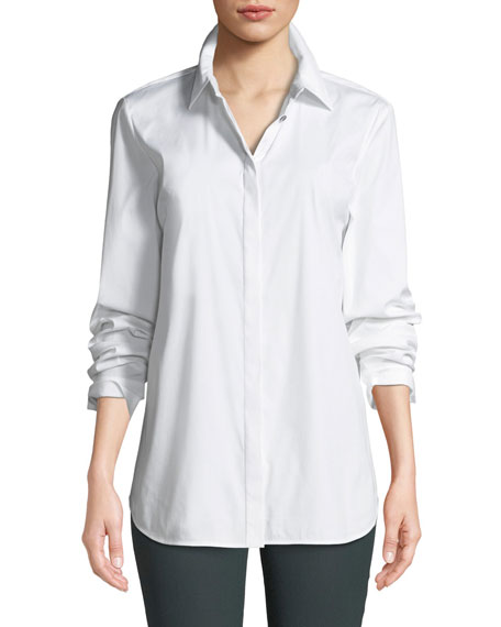 Lafayette 148 New York Brody Long-Sleeve Poplin Blouse,