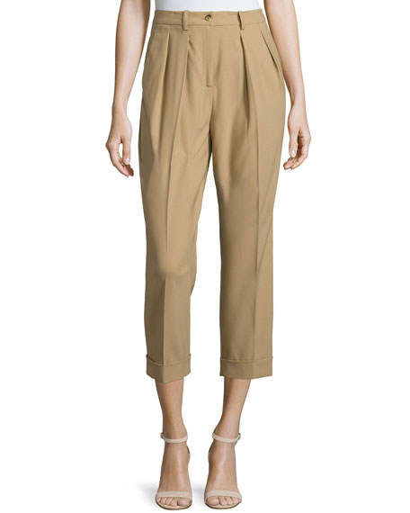 Michael Kors Pleated-Front Slim-Leg Cropped Pants, Fawn