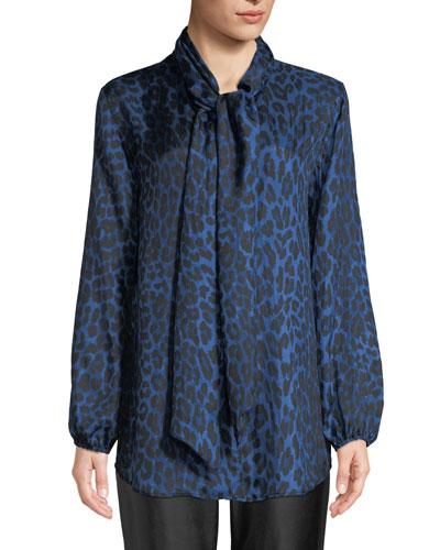 Leopard-Print Silk Blouse, Petite