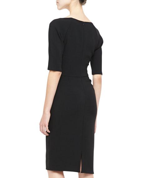 Lela Rose Deedie 3/4-Sleeve Side Ruched Dress