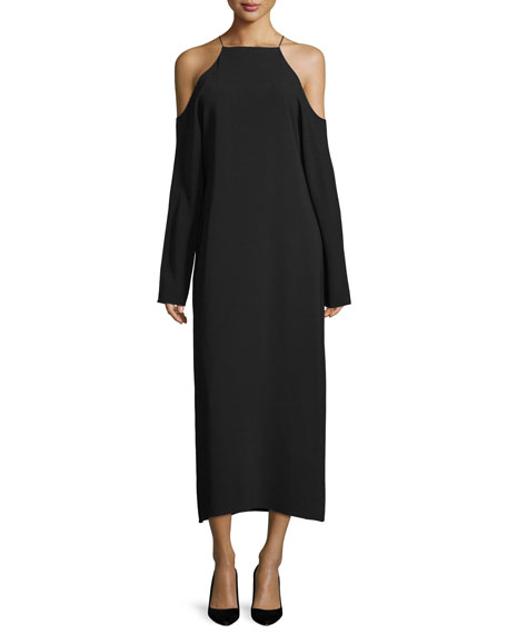 Ikeda Cold-Shoulder Midi Dress, Black