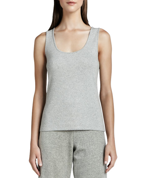 Joan Vass Scoop-Neck Cotton Tank, Gray