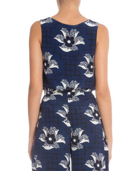 Sleeveless Floral-Print Tunic, Navy