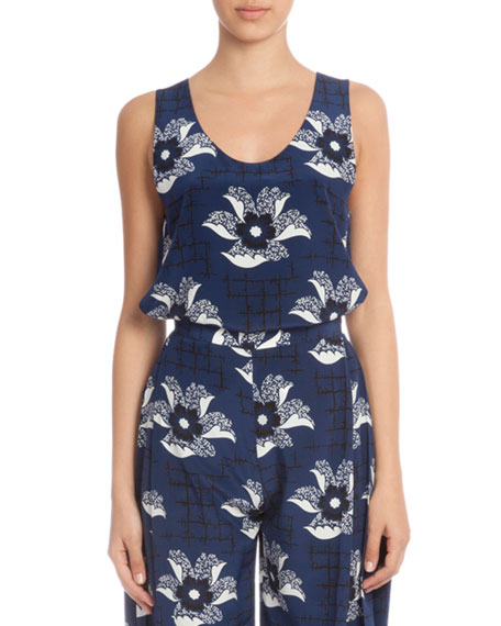 Sleeveless Floral-Print Tunic, Navy