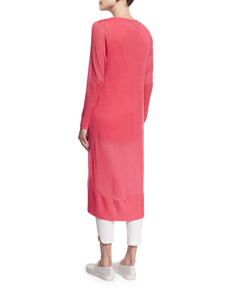 Long Sheer Button-Front Cardigan, Strawberry