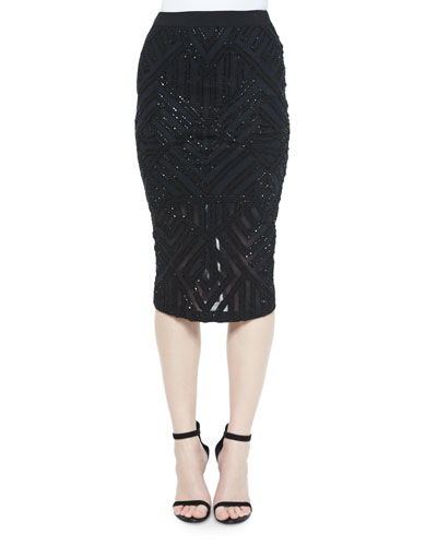 Sandia Beaded Geometric Pencil Skirt, Black