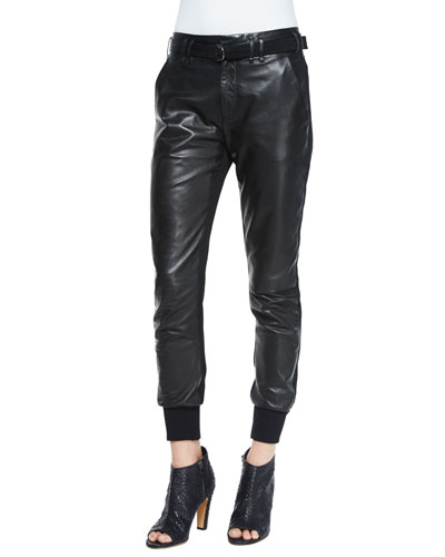 Leather Belted Jogger Pants