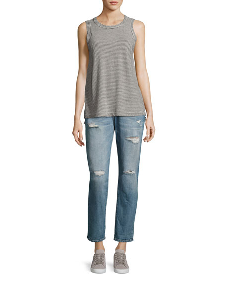 The Fling Distressed Cropped Ankle Jeans, Loved