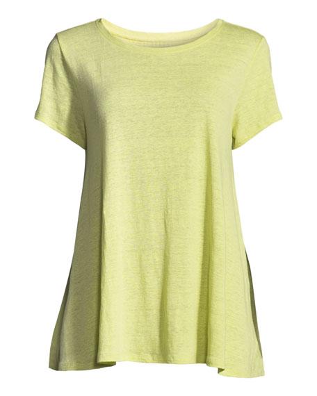 Short-Sleeve Organic Linen Jersey Swing Tee