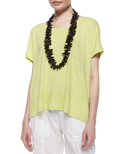 Short-Sleeve Scoop-Neck Box Top, Honeydew