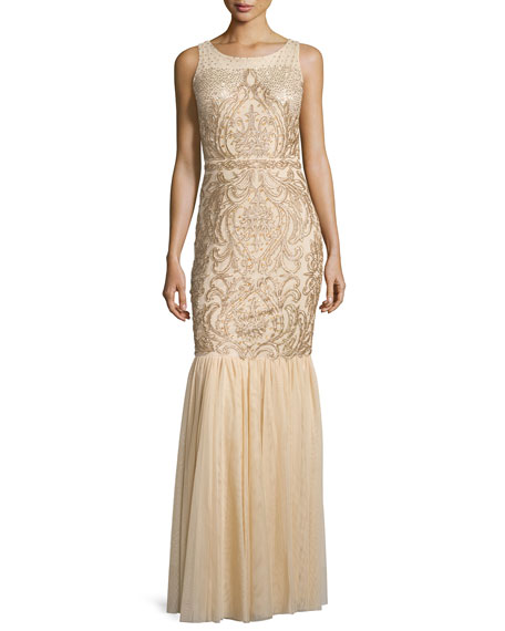 Badgley Mischka Sleeveless Beaded Gown with Tulle Skirt