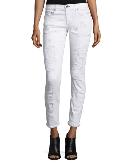 Dre Distressed Cropped Skinny Jeans, White Brigade