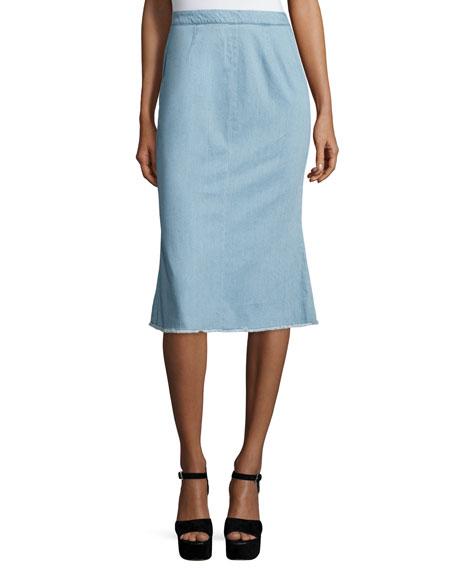 NICHOLAS Fluted-Hem Denim Skirt, Light Blue