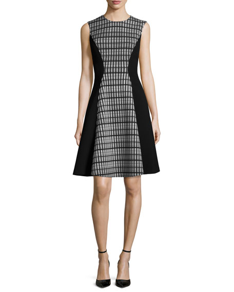 Lela Rose Linear Organza Sleeveless Dress, Black/Ivory