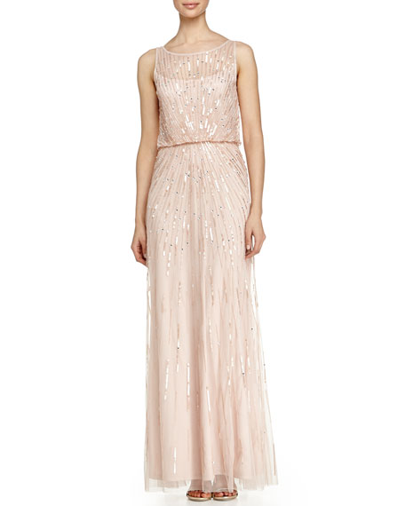 Aidan by Aidan Mattox Illusion-Neck Beaded Gown, Petal