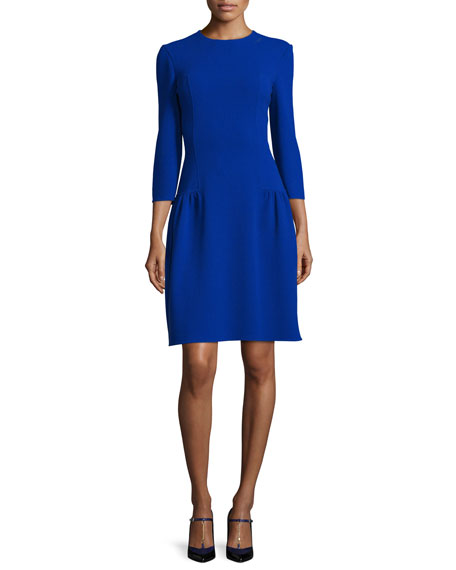 Oscar de la Renta 3/4-Sleeve Dropped-Waist Dress