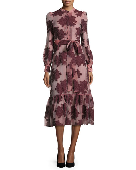 Co Floral Belted Long-Sleeve Midi Dress, Burgundy