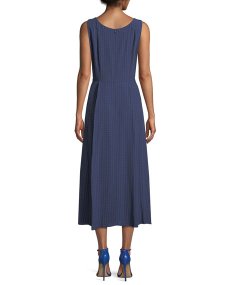 Seersucker Sleeveless Midi Dress, Blue/Multi