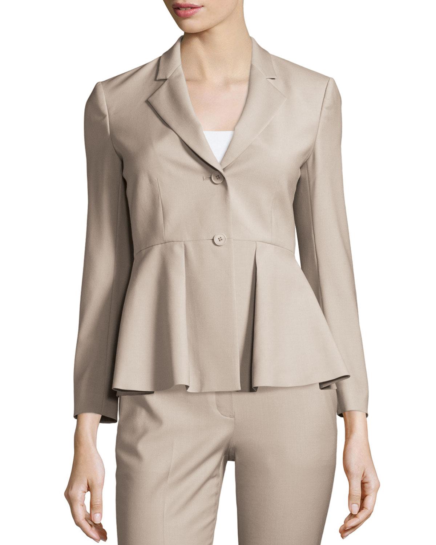 df18d76f4ed9 Theory Braneve Wool-Blend Peplum Jacket | Neiman Marcus