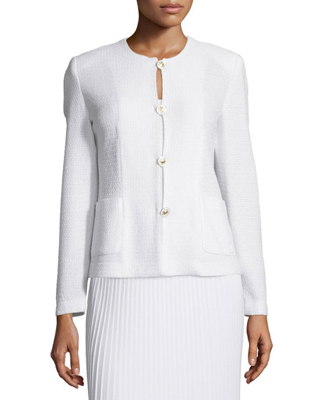 Misook Button-Front Textured Jacket, Petite