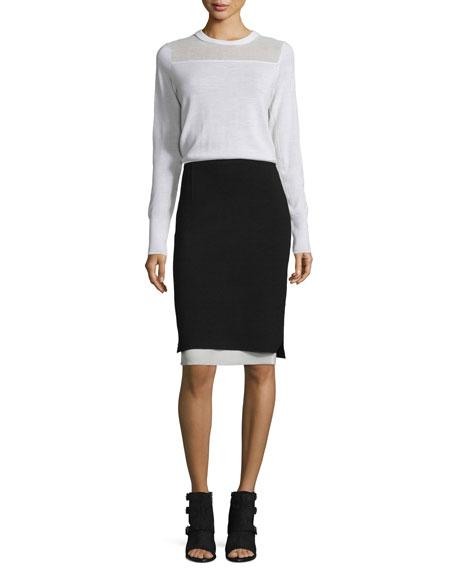 Elana Mesh-Trim Pullover Sweater, Ivory
