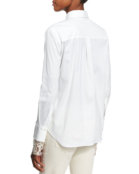 Brunello Cucinelli Poplin Blouse w/Scalloped Lace Cuffs, White