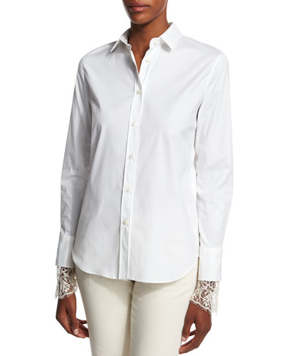 Poplin Blouse w/Scalloped Lace Cuffs  White