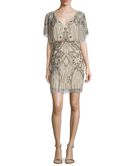 Short-Sleeve Sequined & Beaded Blouson Dress, Silver