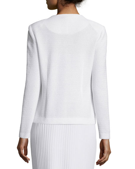 Button-Front Textured Jacket