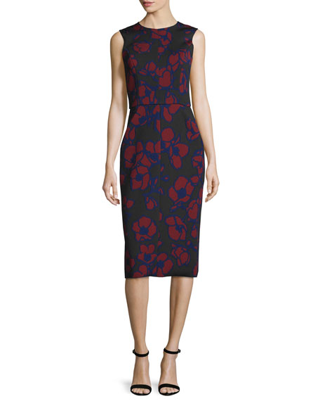 Oscar de la Renta Sleeveless Poppy-Print Sheath Dress