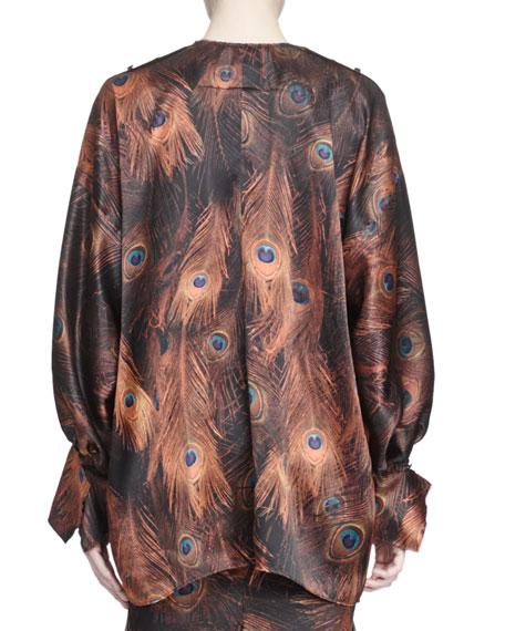 Vintage Peacock-Print Poet-Sleeve Blouse