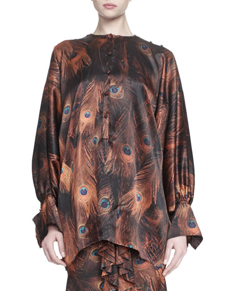 Givenchy Vintage Peacock-Print Poet-Sleeve Blouse