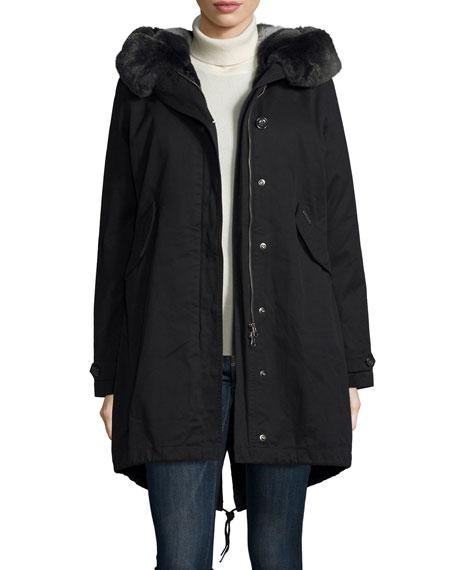 Literary Fur-Trim Cotton Parka Coat, Black