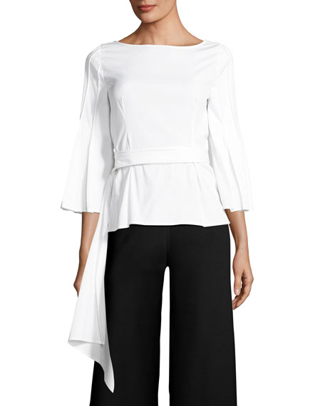 Wrap Blouse with Pleated Flounce Sleeve, White