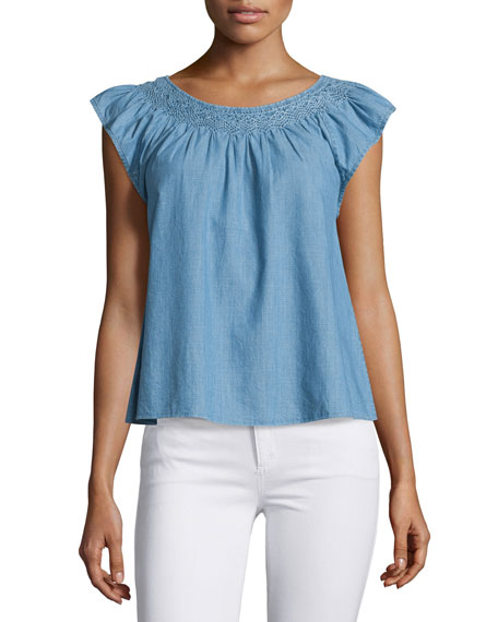 The Flutter Sleeve Embroidered Denim Top
