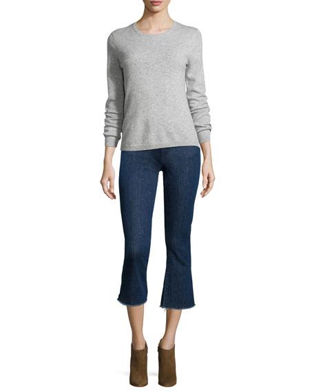 Flare-Leg Cropped Jeans, Indigo