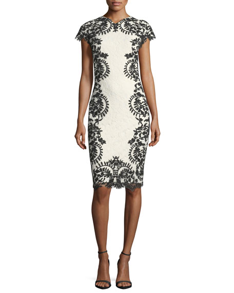 Tadashi Shoji Cap-Sleeve Boat-Neck Lace Embroidered Cocktail