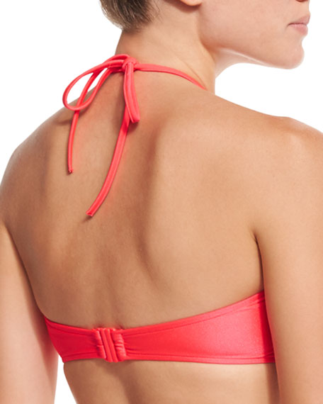 "Shimmer DD ""U"" Tube Bikini Top, Neon Red"