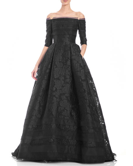 Off-the-Shoulder 3/4-Sleeve Fil Coupe Ball Gown, Black