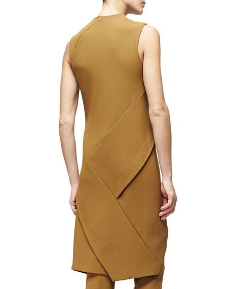 Sleeveless Angled-Seam Tunic Dress, Dark Sulfur