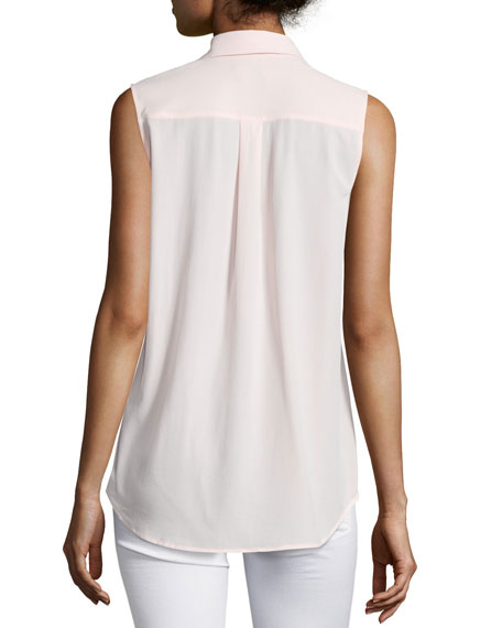 Slim Signature Sleeveless Blouse, Rose