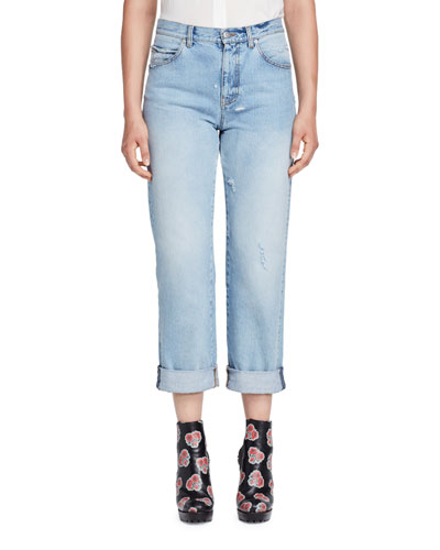 Cuffed Denim Boyfriend Jeans, Light Denim