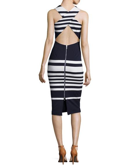 Positano Stripe Cross-Back Sheath Dress