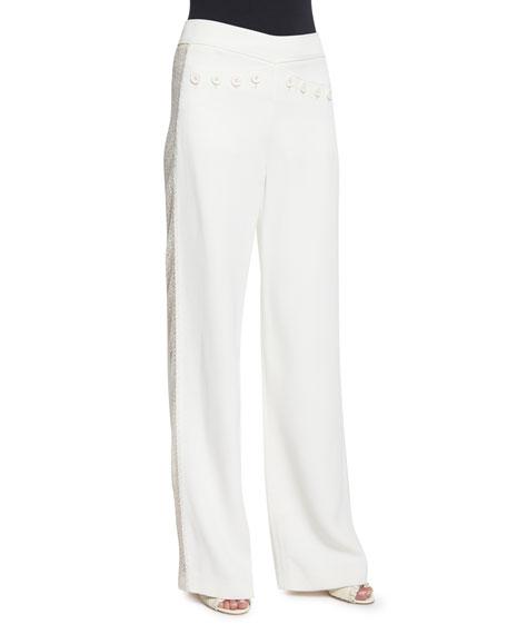 Derek Lam Wide-Leg Flat-Front Tuxedo Pants