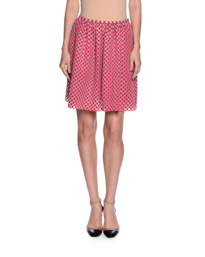 Organza-Dot Full Skirt, Pink