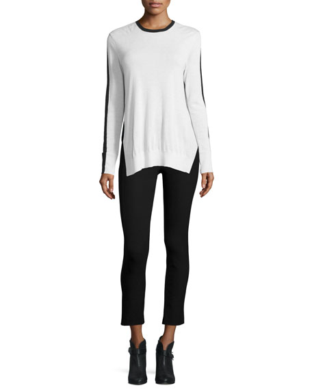 Verity Two-Tone Cashmere Pullover Sweater