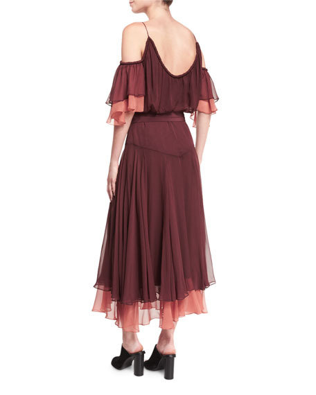 Amethyst Cold-Shoulder Belted Dress, Rum Raisin/Bronzer