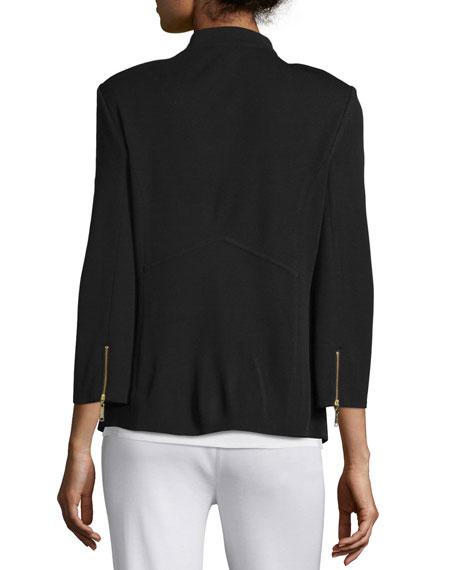 3/4-Sleeve Button-Front Jacket, Plus Size