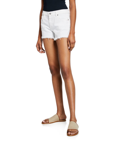 Cutoff Jean Shorts, Clean White