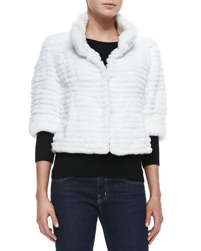 High-Collar Layered Fur Coat, White